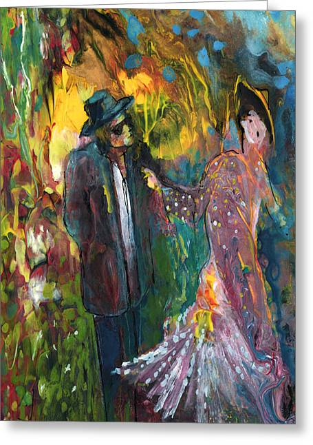 Problem Paintings Greeting Cards - Lovers In The Wood Greeting Card by Miki De Goodaboom