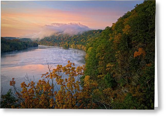 Litchfield County Greeting Cards - Lovers Leap Sunrise Greeting Card by Bill  Wakeley