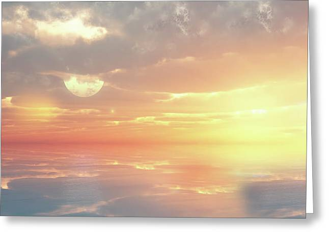 Dream Scape Digital Greeting Cards - Lovers Ocean Greeting Card by Georgiana Romanovna