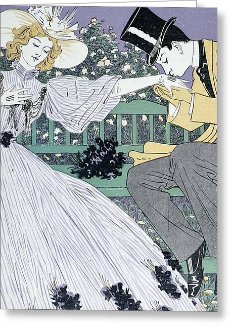 Flowers On Hat Greeting Cards - Lovers on a Bench Greeting Card by Otto Eckmann