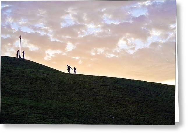 Toni Martsoukos Greeting Cards - Lovers on Federal Hill at Dusk Greeting Card by Toni Martsoukos