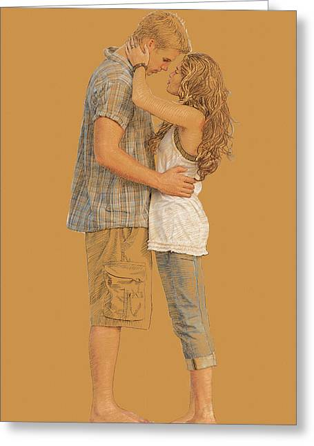 Lovers On The Beach Greeting Card by Dominique Amendola