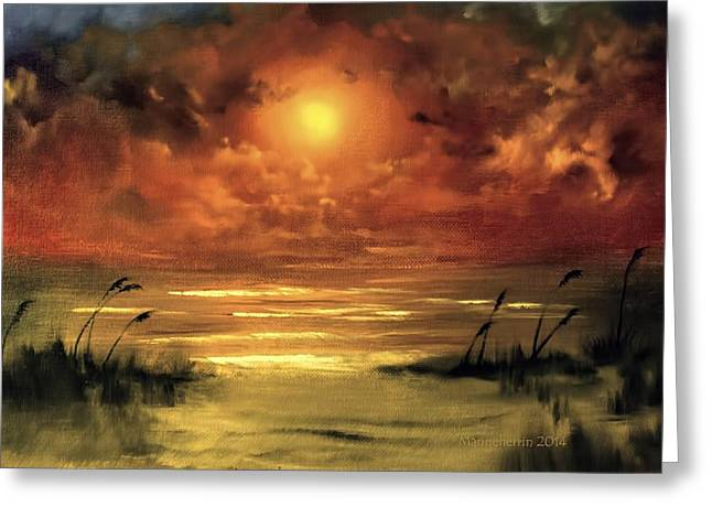 Sea Oats Greeting Cards - Lovers Sunset Greeting Card by Melissa Herrin