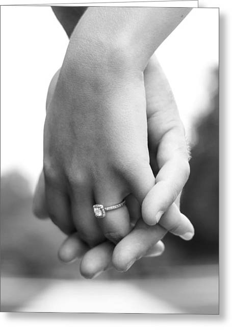 Looking For Love Greeting Cards - Lovers Touch in Black and White Greeting Card by Grant Little