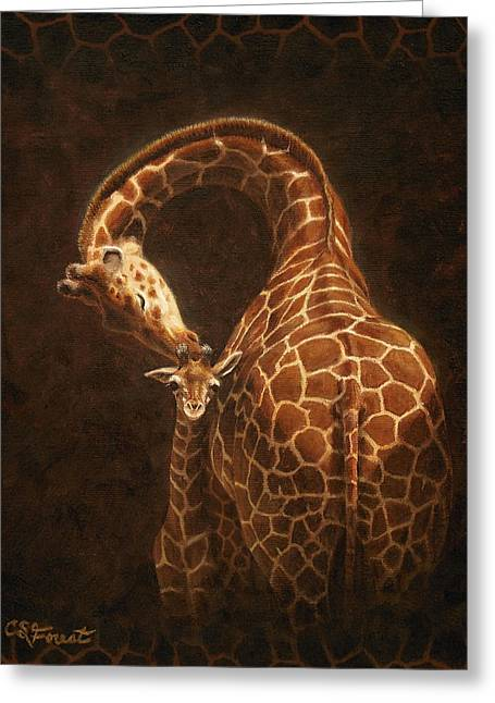 Giraffe Greeting Cards - Loves Golden Touch Greeting Card by Crista Forest