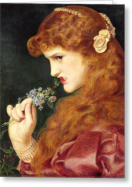 Pearl Bracelet Greeting Cards - Loves Shadow, 1867 Greeting Card by Anthony Frederick Augustus Sandys