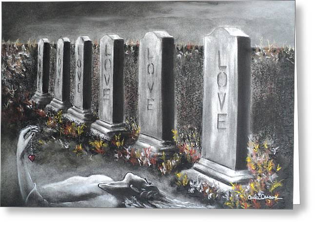 Cemetary Pastels Greeting Cards - Loves Silent Echoes Greeting Card by Carla Carson
