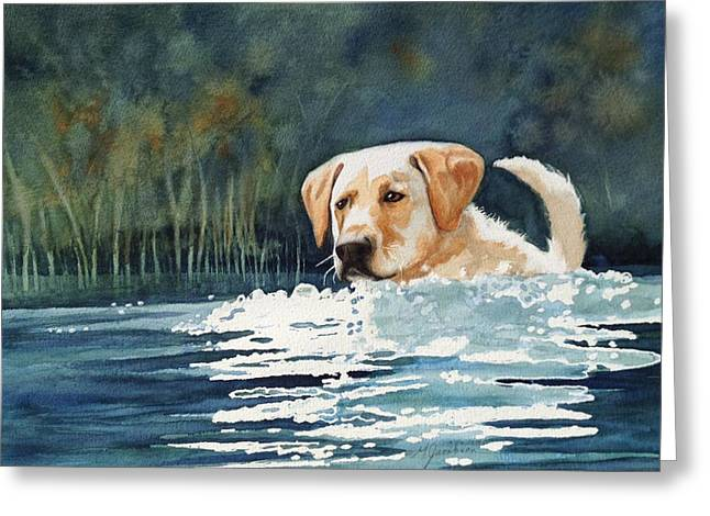 Dog In Lake Greeting Cards - Loves the Water Greeting Card by Marilyn Jacobson