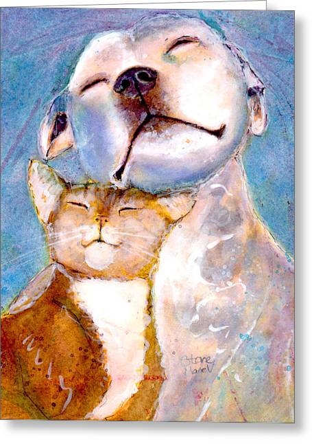 Pitted Greeting Cards - Lovey Dovey Greeting Card by Marie Stone Van Vuuren