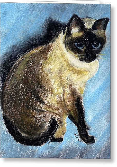 Siamese Cat Print Greeting Cards - Lovey Greeting Card by Jamie Frier