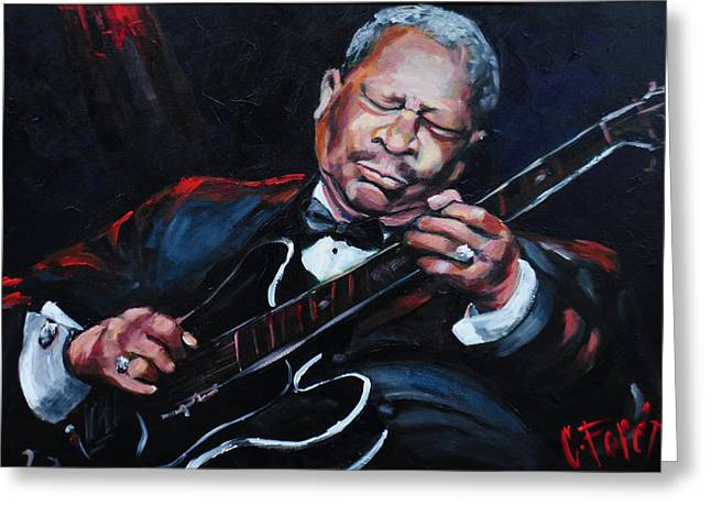 African-americans Greeting Cards - Lovin Lucille B B King Greeting Card by Carole Foret