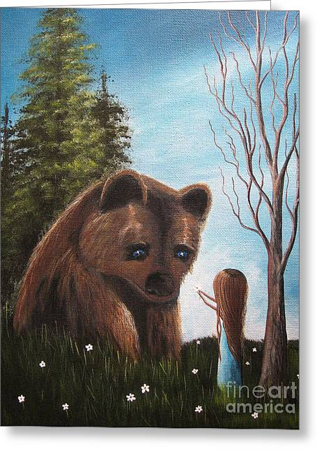 Cute Bear Greeting Cards - Loving All Gods Creatures by Shawna Erback Greeting Card by Shawna Erback