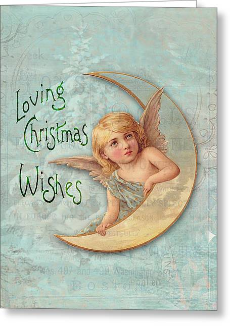 Loving Angel Wishes Greeting Card by Sarah Vernon