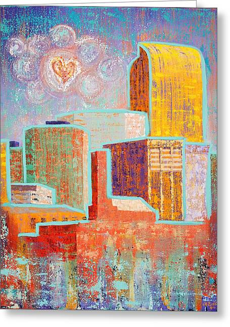 Loving It In Denver Greeting Card by Margaret Bobb