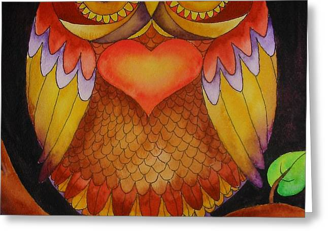 Loving Owl Greeting Card by Lou Cicardo