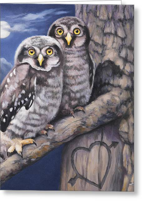 Owl Greeting Cards - Loving You Greeting Card by John Zaccheo