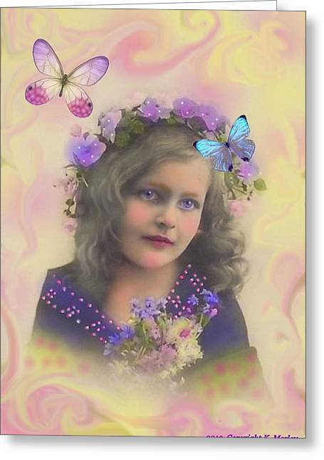 Flower Pink Fairy Child Digital Art Greeting Cards - Lovy Greeting Card by Karen Morley