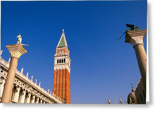 Town Square Greeting Cards - Low Angle View Of A Bell Tower, St Greeting Card by Panoramic Images