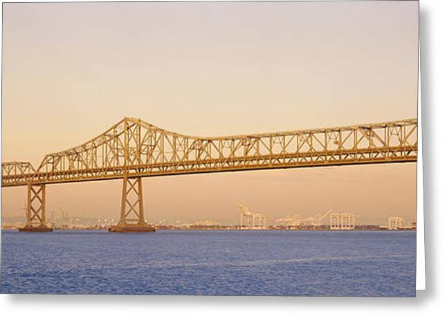 Famous Bridge Greeting Cards - Low Angle View Of A Bridge, Bay Bridge Greeting Card by Panoramic Images