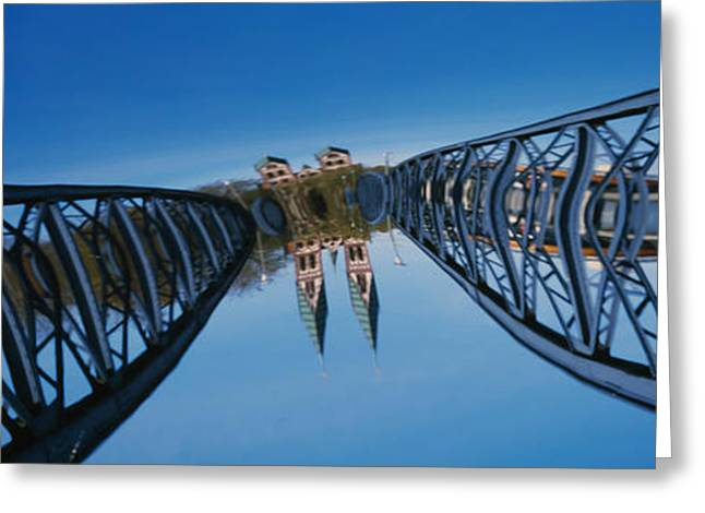 Surreal Photography Greeting Cards - Low Angle View Of A Bridge, Blue Greeting Card by Panoramic Images