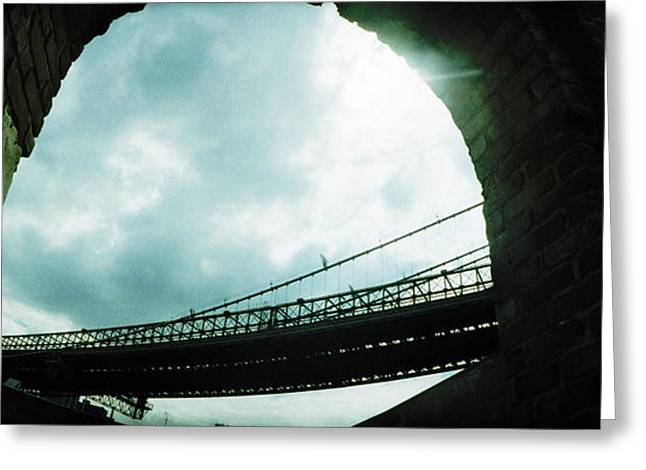 Overcast Day Greeting Cards - Low Angle View Of A Bridge, Brooklyn Greeting Card by Panoramic Images