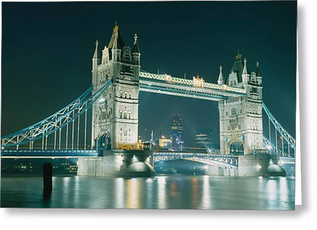Drawbridge Greeting Cards - Low Angle View Of A Bridge Lit Greeting Card by Panoramic Images
