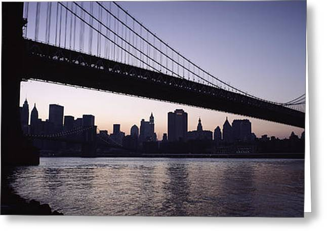 Lower Manhattan Greeting Cards - Low Angle View Of A Bridge, Manhattan Greeting Card by Panoramic Images