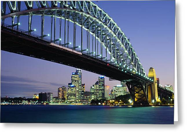 Illuminate Greeting Cards - Low Angle View Of A Bridge, Sydney Greeting Card by Panoramic Images