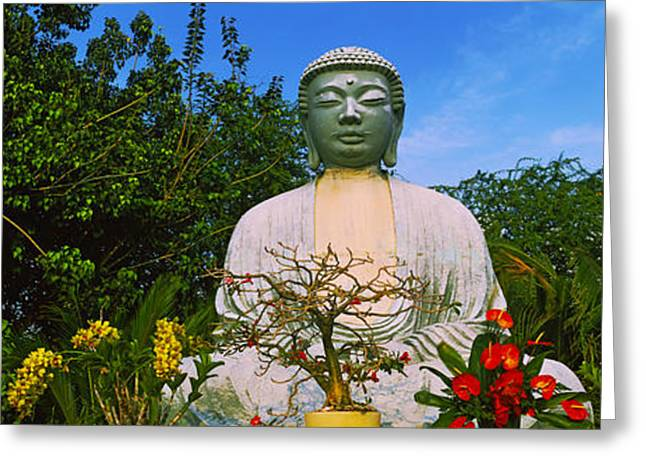 Spirituality Greeting Cards - Low Angle View Of A Buddha Statue Greeting Card by Panoramic Images
