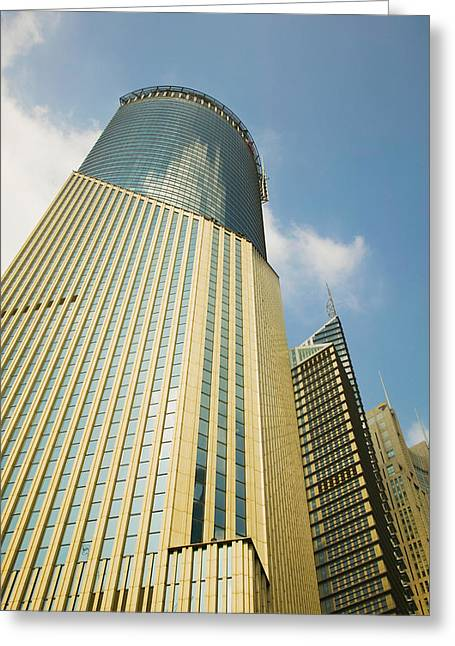 Pudong Greeting Cards - Low Angle View Of A Building, Bank Greeting Card by Panoramic Images