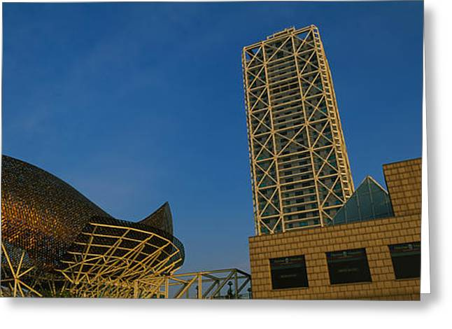 Geometric Shape Greeting Cards - Low Angle View Of A Building, Olympic Greeting Card by Panoramic Images