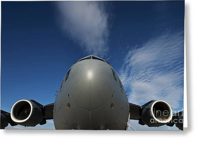 Plane Nose Greeting Cards - Low Angle View Of A C-17 Globemaster Greeting Card by Stocktrek Images