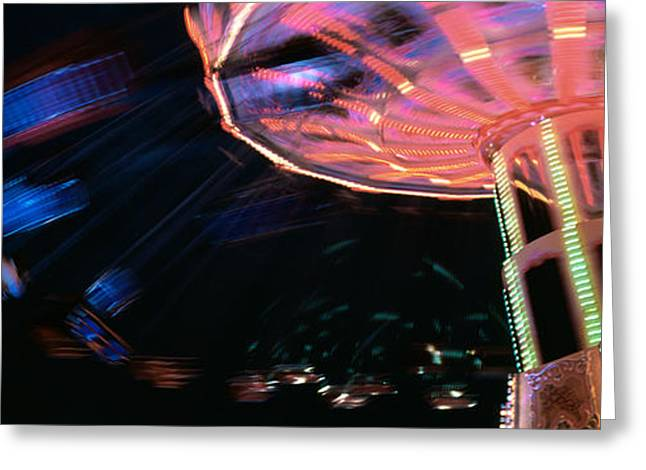 Amusements Greeting Cards - Low Angle View Of A Carousel, Amusement Greeting Card by Panoramic Images