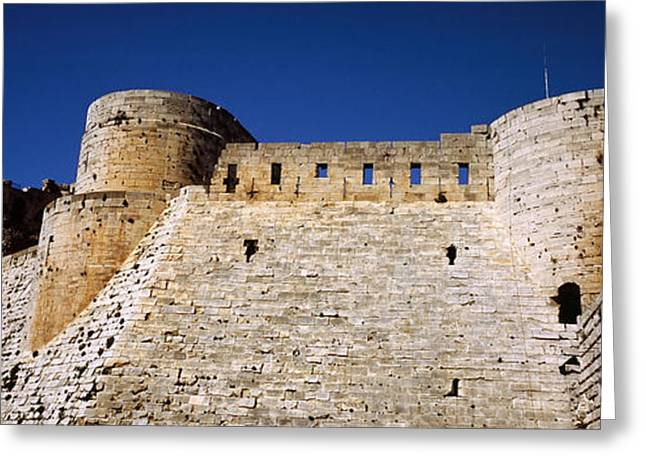 Fortified Wall Greeting Cards - Low Angle View Of A Castle, Crac Des Greeting Card by Panoramic Images