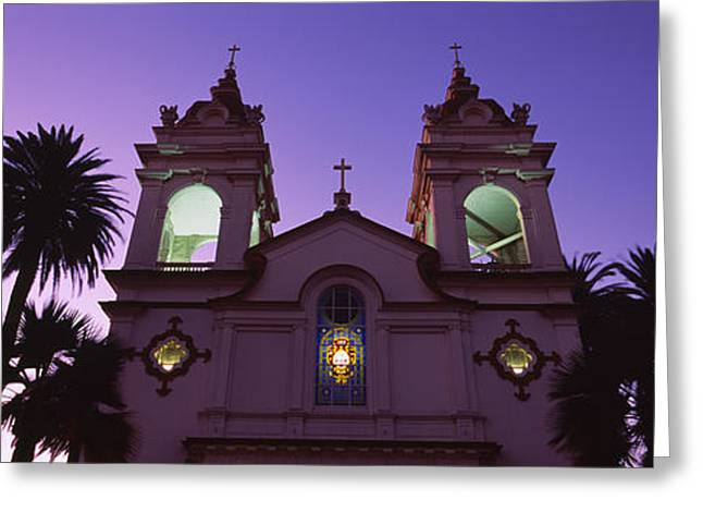 Silicon Greeting Cards - Low Angle View Of A Cathedral Lit Greeting Card by Panoramic Images