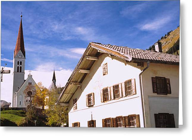 Crucifix Greeting Cards - Low Angle View Of A Church, Holzgau Greeting Card by Panoramic Images