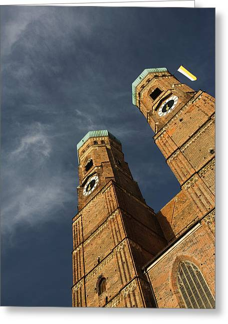 Frauenkirche Greeting Cards - Low Angle View Of A Church, Munich Greeting Card by Panoramic Images