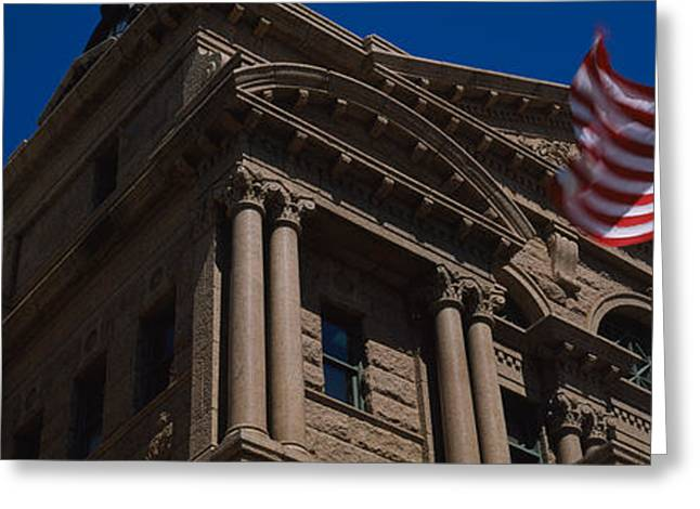 American Flag Photography Greeting Cards - Low Angle View Of A Courthouse, Fort Greeting Card by Panoramic Images