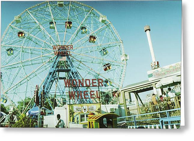 Amusement Park Ride Greeting Cards - Low Angle View Of A Ferris Wheel Greeting Card by Panoramic Images