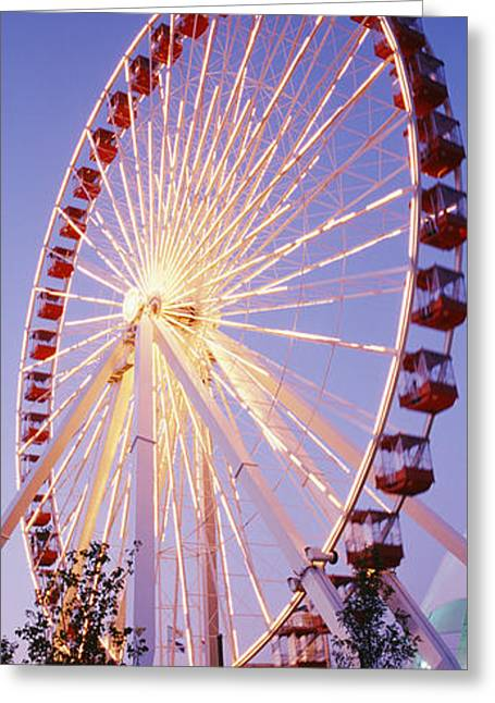 Amusements Greeting Cards - Low Angle View Of A Ferris Wheel, Navy Greeting Card by Panoramic Images