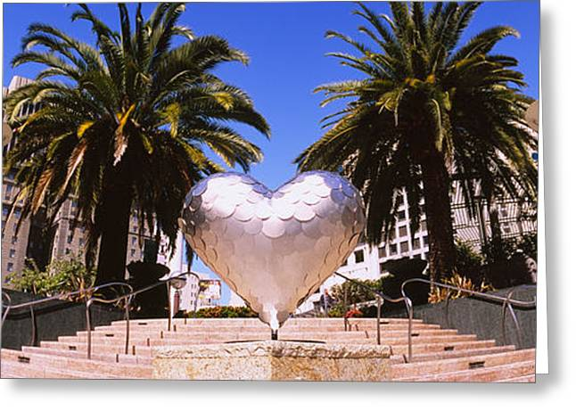 Tall Trees Greeting Cards - Low Angle View Of A Heart Shape Greeting Card by Panoramic Images