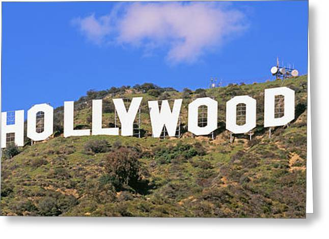 Communications Tower Greeting Cards - Low Angle View Of A Hollywood Sign Greeting Card by Panoramic Images