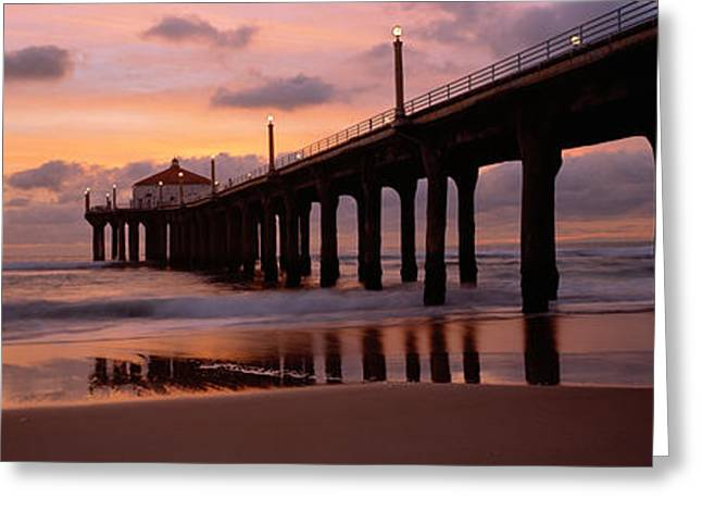 California Ocean Photography Greeting Cards - Low Angle View Of A Hut On A Pier Greeting Card by Panoramic Images