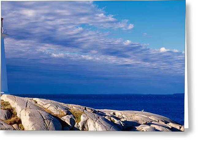 Non Urban Scene Greeting Cards - Low Angle View Of A Lighthouse, Peggys Greeting Card by Panoramic Images