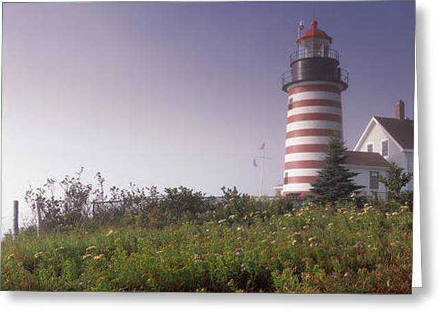 New England Ocean Greeting Cards - Low Angle View Of A Lighthouse, West Greeting Card by Panoramic Images