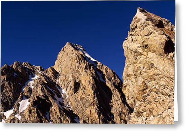 Mountain Greeting Cards - Low Angle View Of A Man Climbing Greeting Card by Panoramic Images
