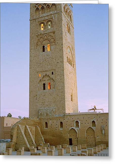 Marrakech Greeting Cards - Low Angle View Of A Minaret, Koutoubia Greeting Card by Panoramic Images