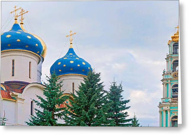 Russian Cross Greeting Cards - Low Angle View Of A Monastery, Trinity Greeting Card by Panoramic Images
