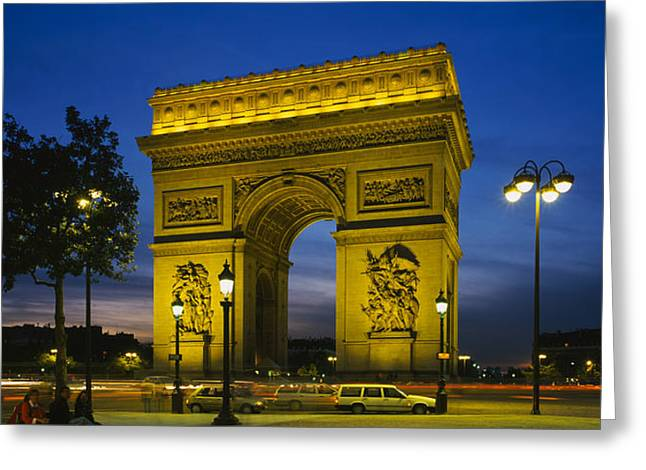 Arc De Triomphe Greeting Cards - Low Angle View Of A Monument, Arc De Greeting Card by Panoramic Images