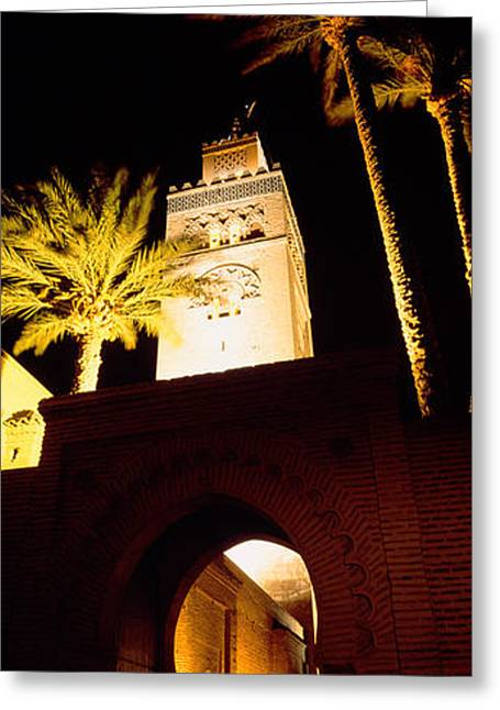 Marrakesh Greeting Cards - Low Angle View Of A Mosque Lit Greeting Card by Panoramic Images